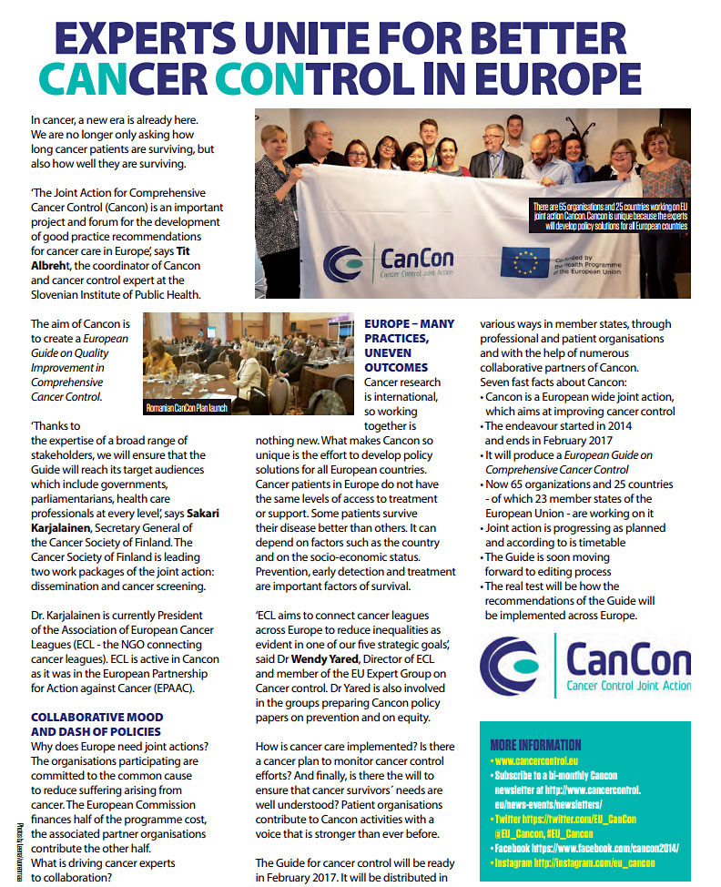Cancon on the Parliament Magazine